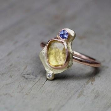 Vintage Engagement Rings Ancient Egypt Yellow Tourmaline Tanzanite Diamond Wedding Ring