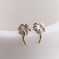 Palm Tree Post Stud Earrings in 14K Gold Filled Tiny Gold
