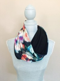 Infinity Scarf with Hidden Pocket Reversible Knit Black and
