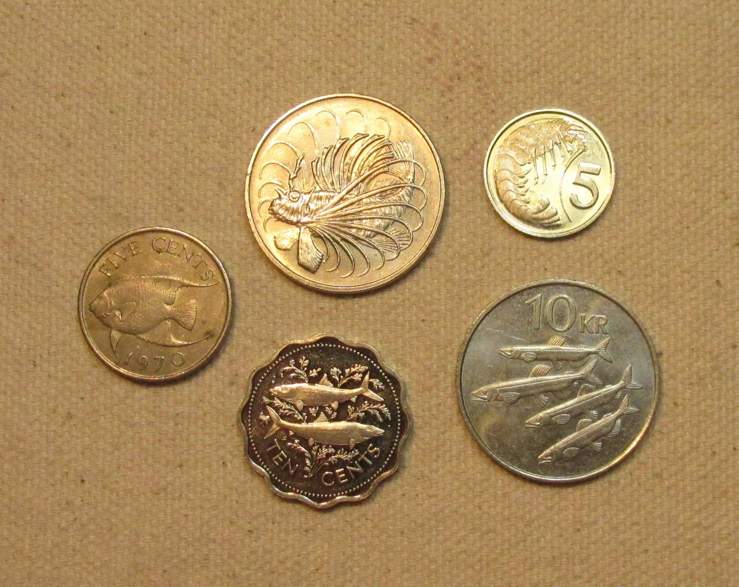 Fish Sealife 5 Coin Lot Fishing Sea Motif Coins By