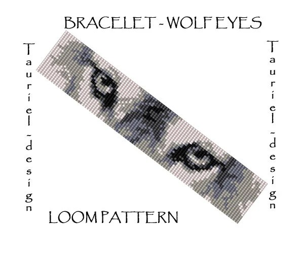 Loom pattern animal bracelet pattern Wolf Eyes