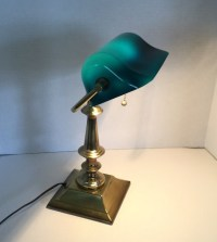 Vintage Brass Bankers Lamp with Turquoise Glass ShadeDesk