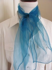 Solid Turquoise Blue Sheer Nylon Scarf Square Affordable