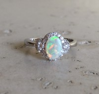 Deco Opal Engagement Ring Opal Halo Promise Ring October