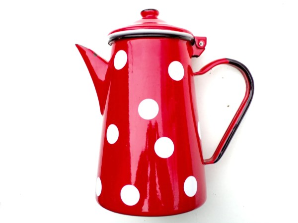 Vintage French Enamelware Cherry Red Polka Dot Coffee Pot