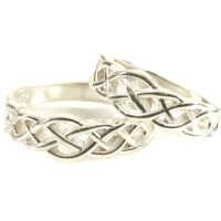 Celtic Knot Wedding Band Set 925 Sterling Silver Wedding Ring