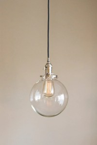 Clear Glass Globe Pendant Light Fixture with 8 Shade