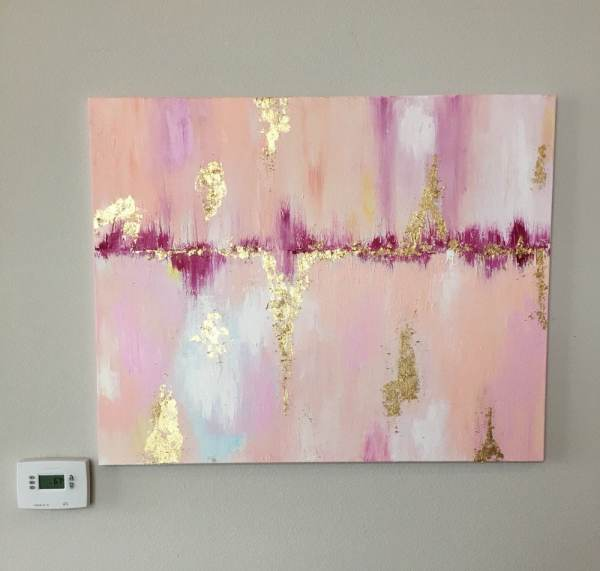 Abstract Pink And Gold Leaf