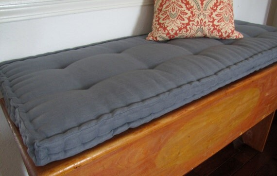 Custom Bench Cushion Gray Linen Window Seat Cushion French