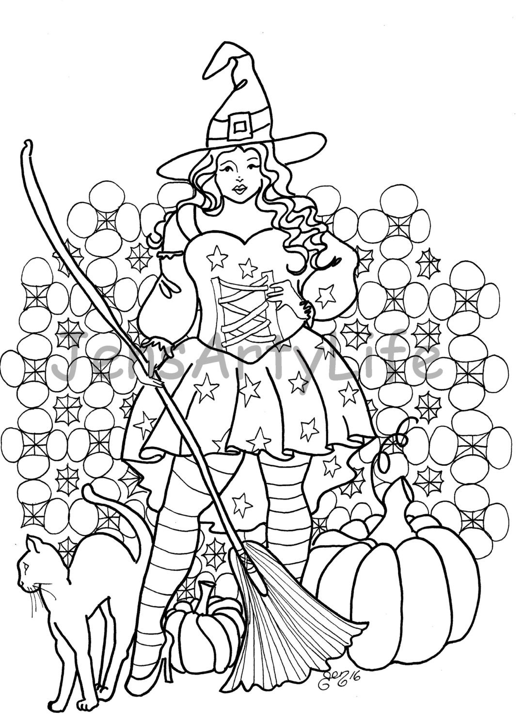 Big Beautiful Witch colouring page from JensArtyLife on