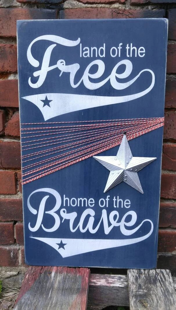 Land Of The Free Home Of The Brave Unique Americana Wooden