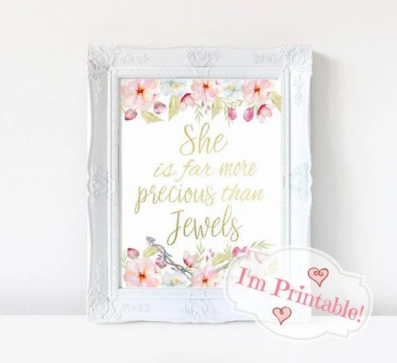 """Watercolor Wall Art Printable, Gold Foil Typography Print, """"She Is Far More Precious Than Jewels,"""" Wall Prints, Wall Art, Art posters"""