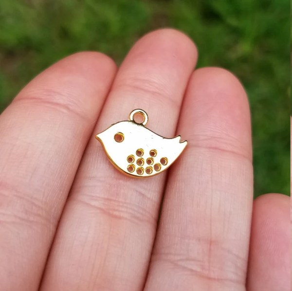 5 Pieces Gold Plated Bird Charm Hollow