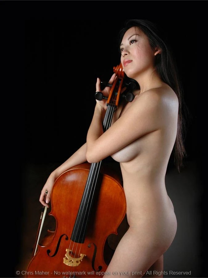 0205JC Naked Cellist Holding Her Cello and Bow Photograph of