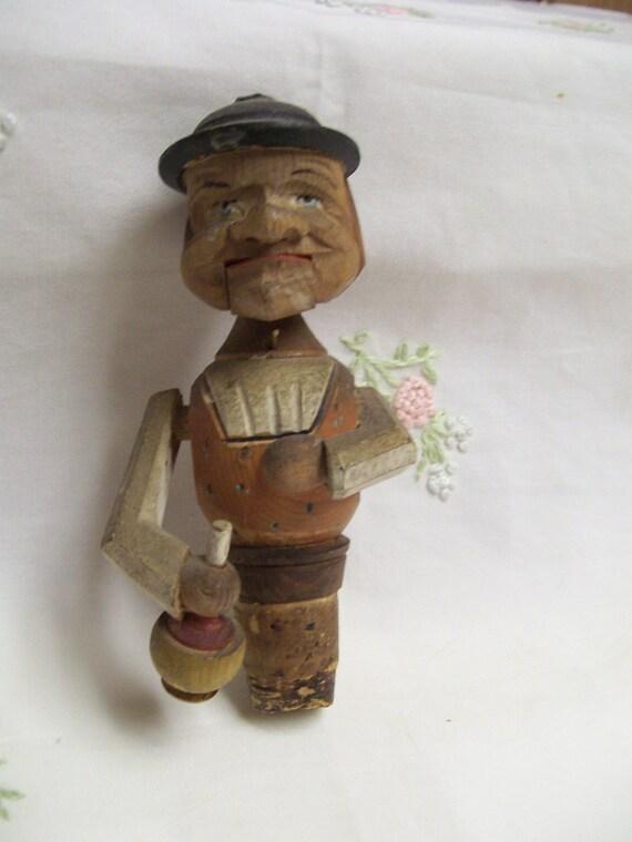 Carved Bottle Stopper Antique Anri German Man Stopper