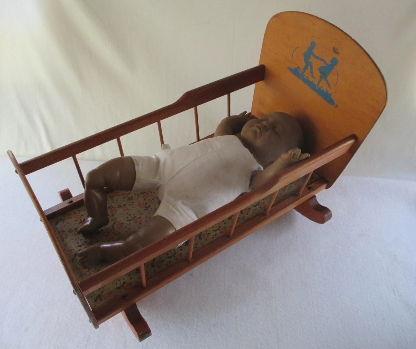 rocking chair and cradle in one doc mcstuffins table chairs doll 39s vintage wooden rocker by