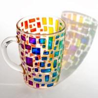Rainbow Mug Multi colored mug Stained glass cup Housewarming