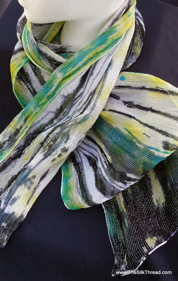 "Silk scarf with silver threads, Hand painted abstract designs of black, yellow and green by artist,  10"" x 60"" Original silk art, USA"