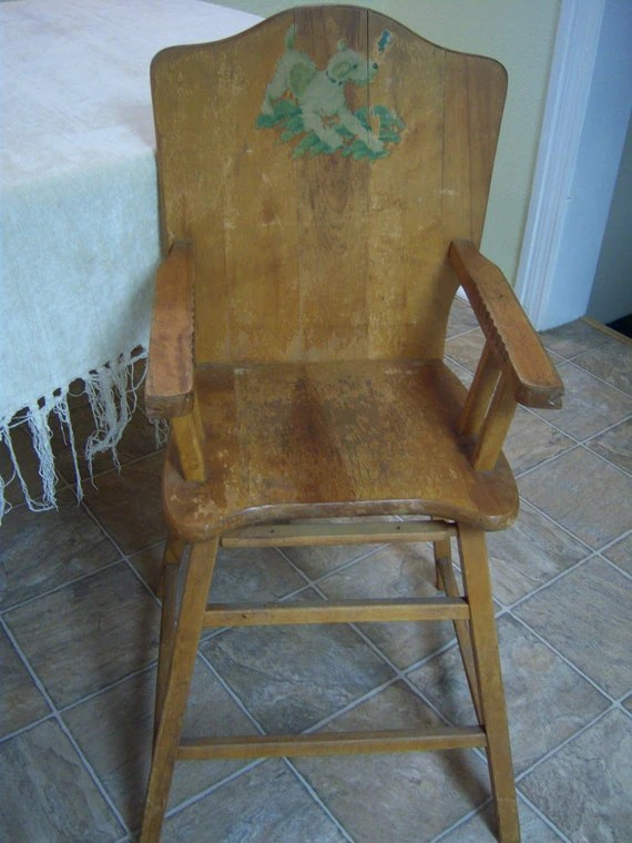 Vintage baby high chairPine high chair with dog decalNursery