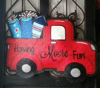 Fireworks Truck Fourth of July Burlap Door Hanger Decoration