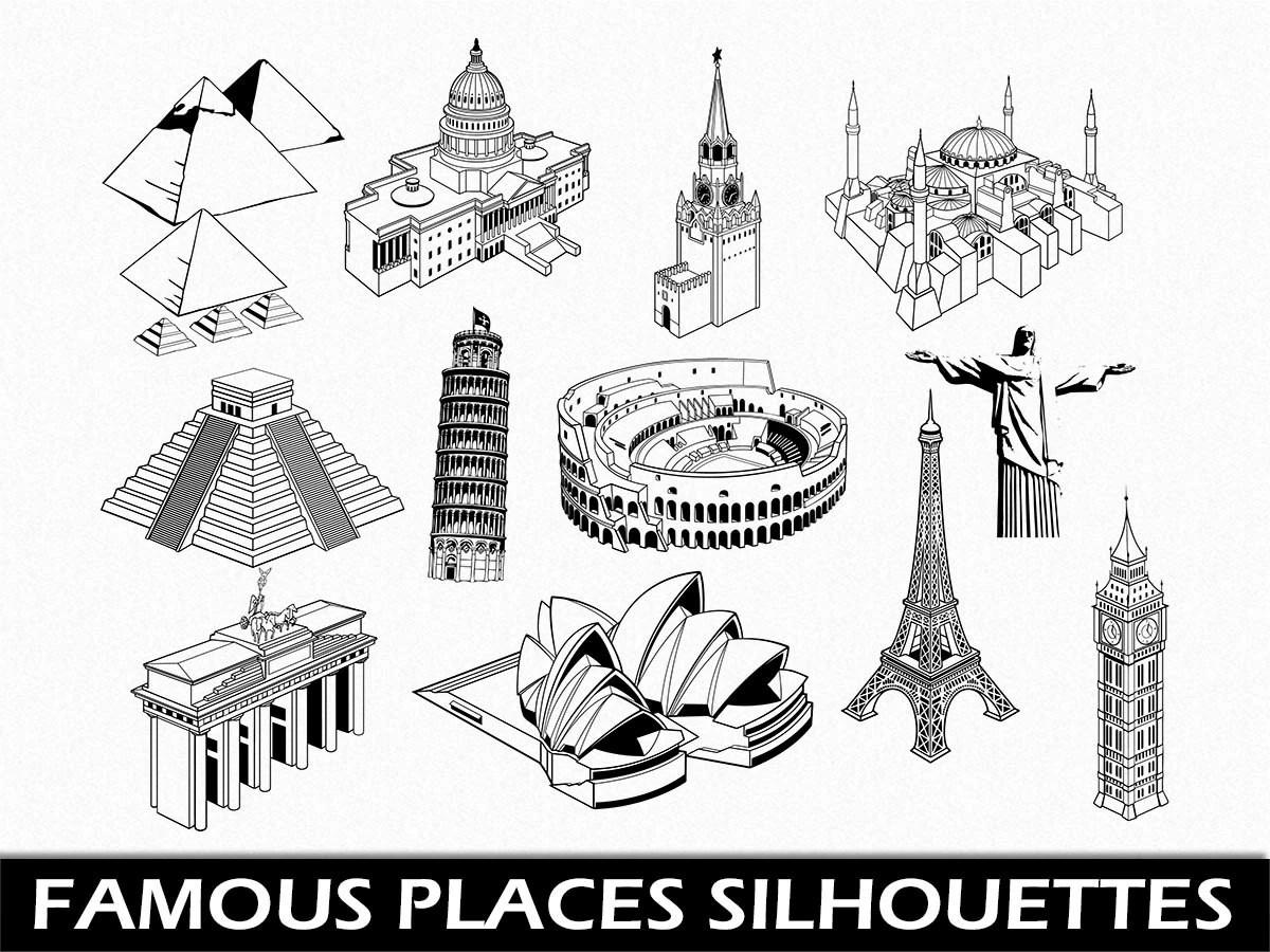 Famous Places Clip Art Graphic Landmarks Clipart Digital