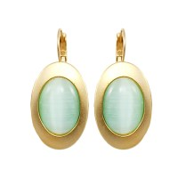 Light Blue stone earring Oval drop earrings Round by Danonj