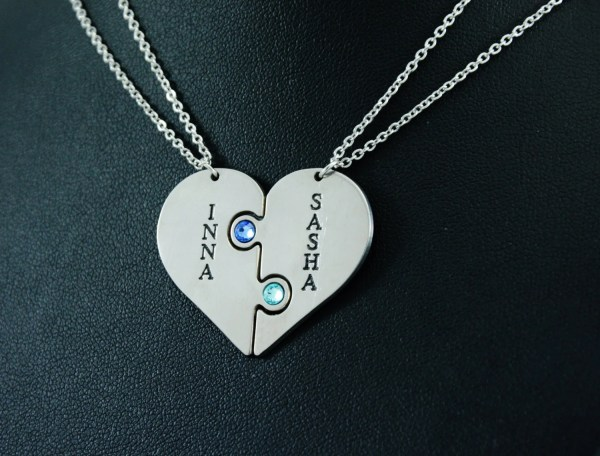 Personalized Heart 2 Necklaces Puzzle