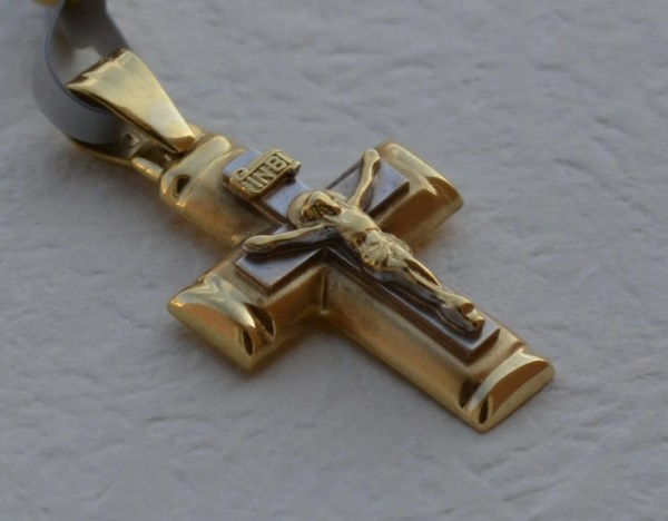 14k Solid Gold Cross Men Orthodox Kantilaki
