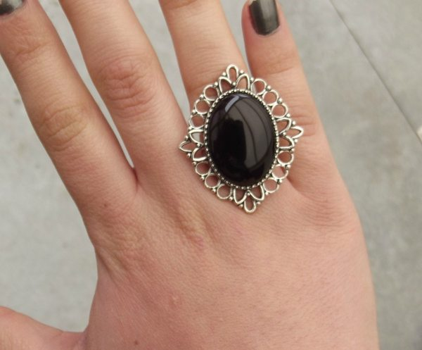 Antique Silver Onyx Stone Ring