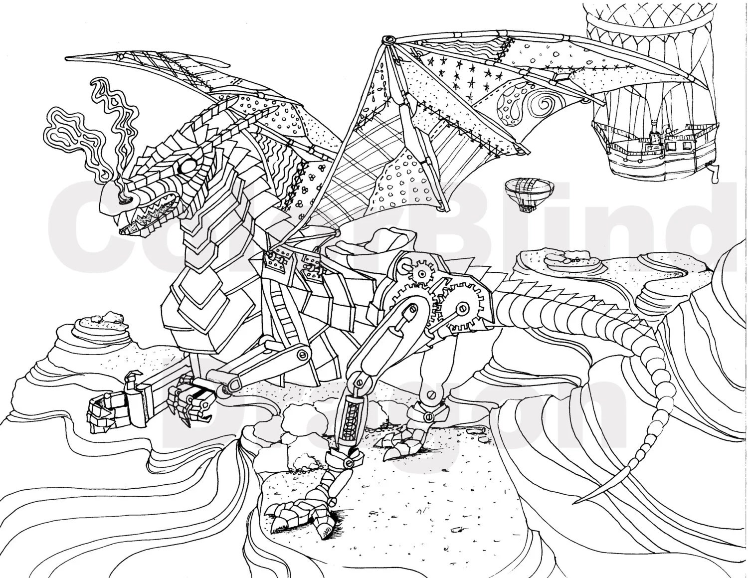 steampunk coloring page coloring pages flying by