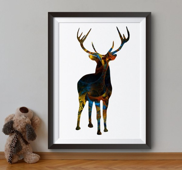 Deer Art Print Abstract Poster Forest Animal