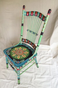 CHAIR-Hand Painted Wooden Chair Bright Charming Great