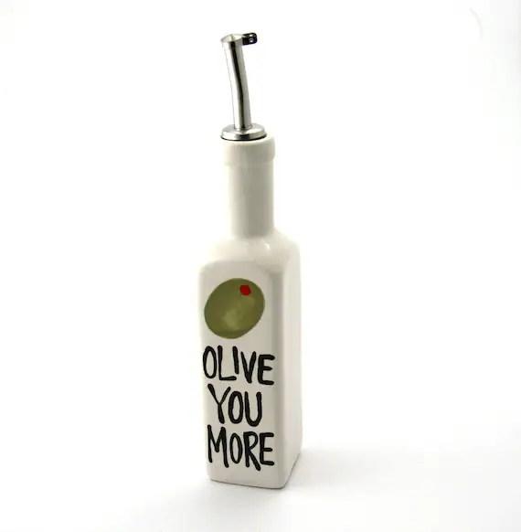 Olive oil dispenser gift for foodie olive you more salad