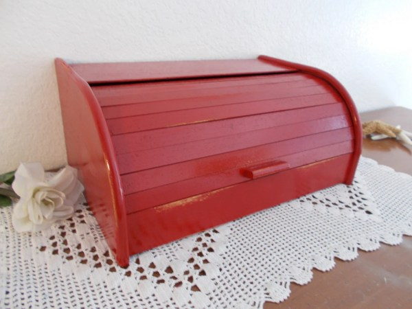 Red Bread Box Rustic Shabby Chic Distressed Wood Storage