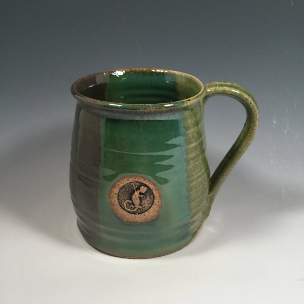 Pottery Mug Ceramic Coffee Cup 16 oz ocean green