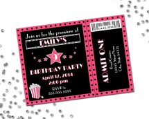 Movie Theme Birthday Party Invitation Pink And Black Diy