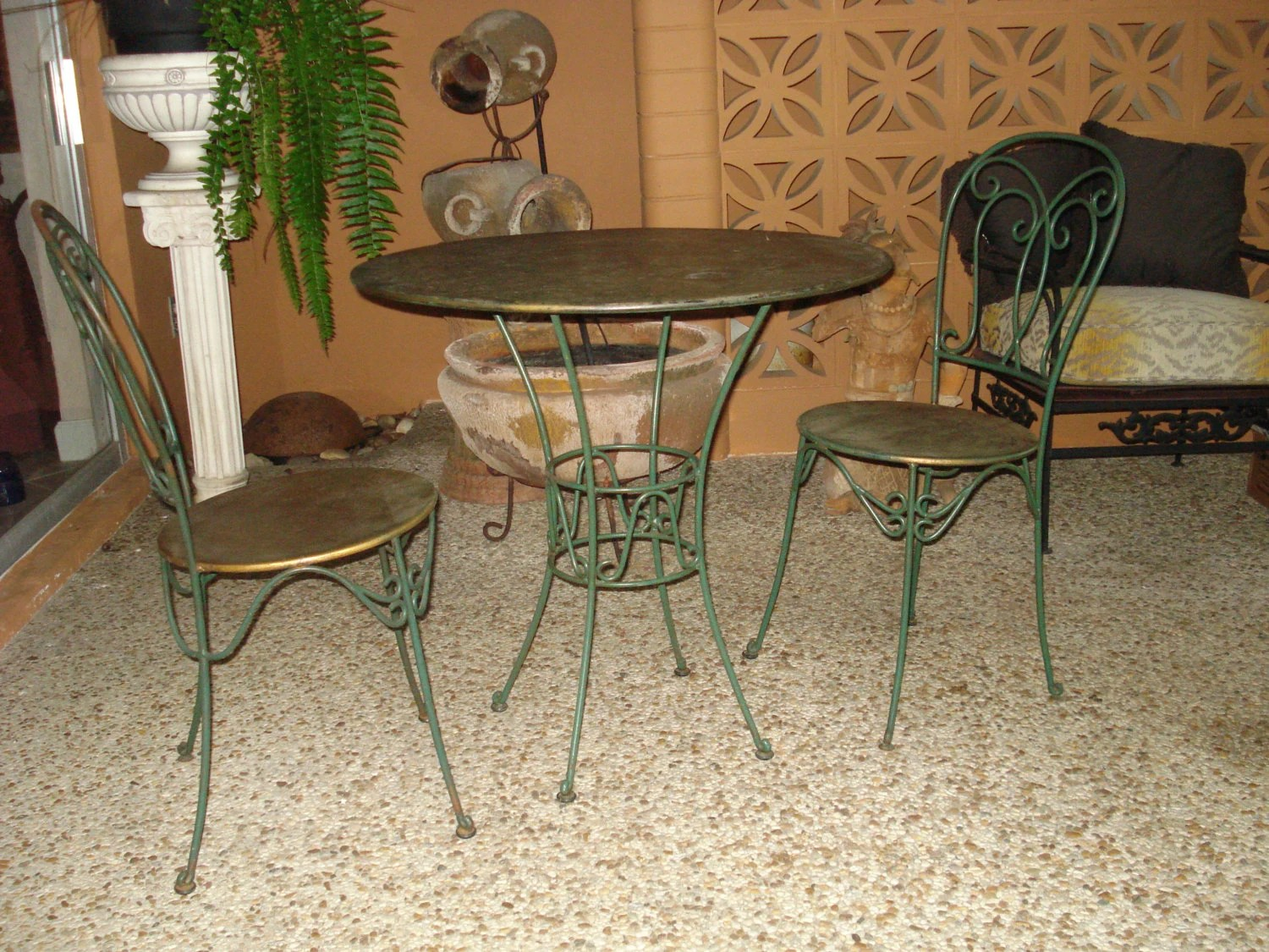 ice cream table and chairs hanging chair clearance vintage hammered copper parlor set