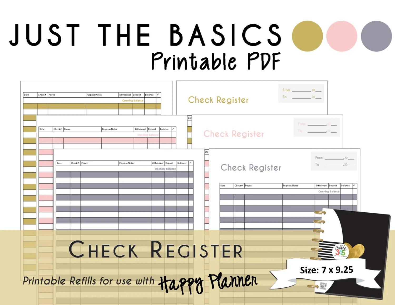 Happy Planner Printable Check Register Planner Inserts