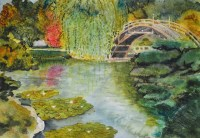 Japanese Garden oriental watercolor painting original fine art