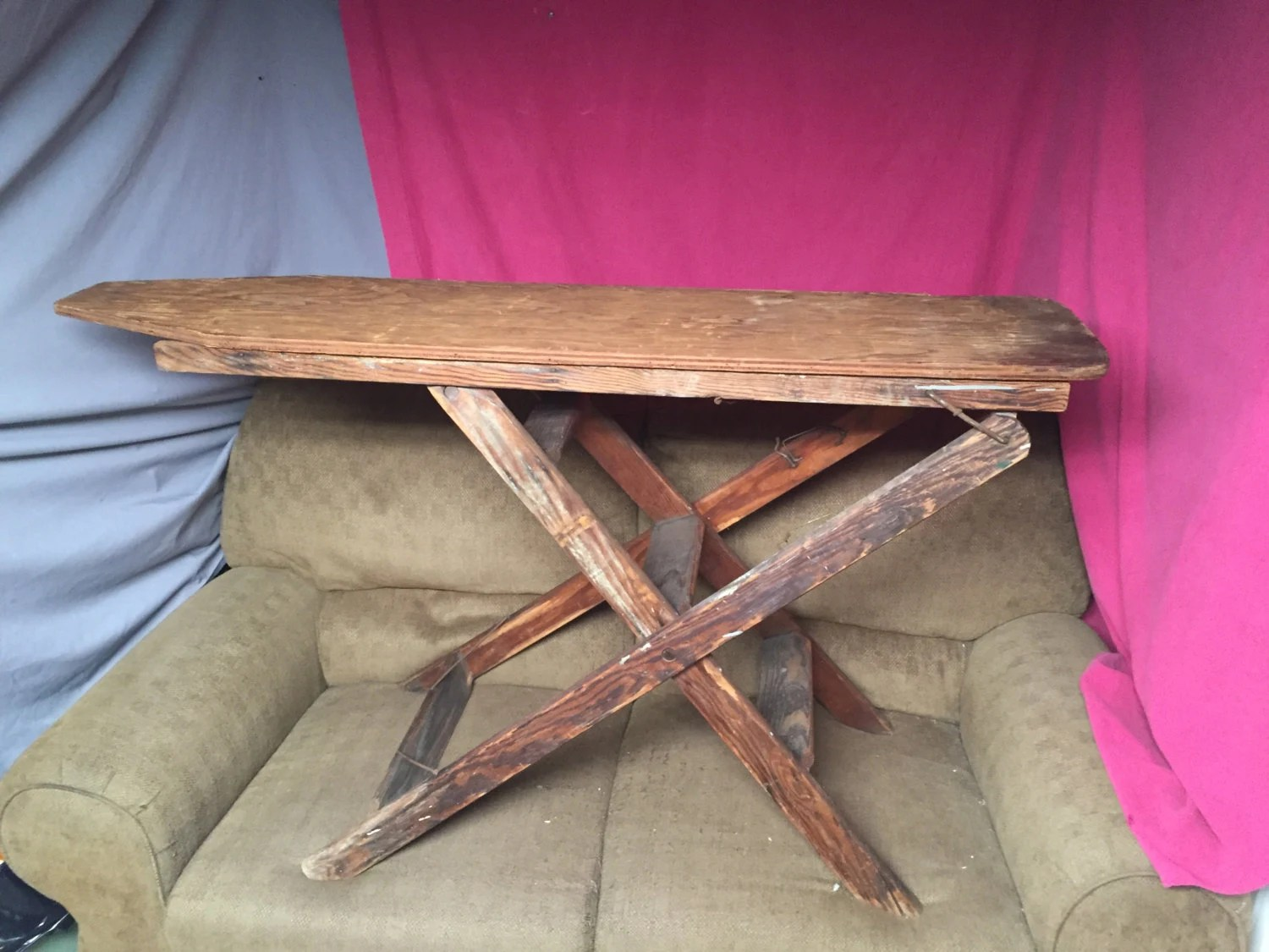 chair step stool ironing board fx covers eu vintage primitive wooden ladder