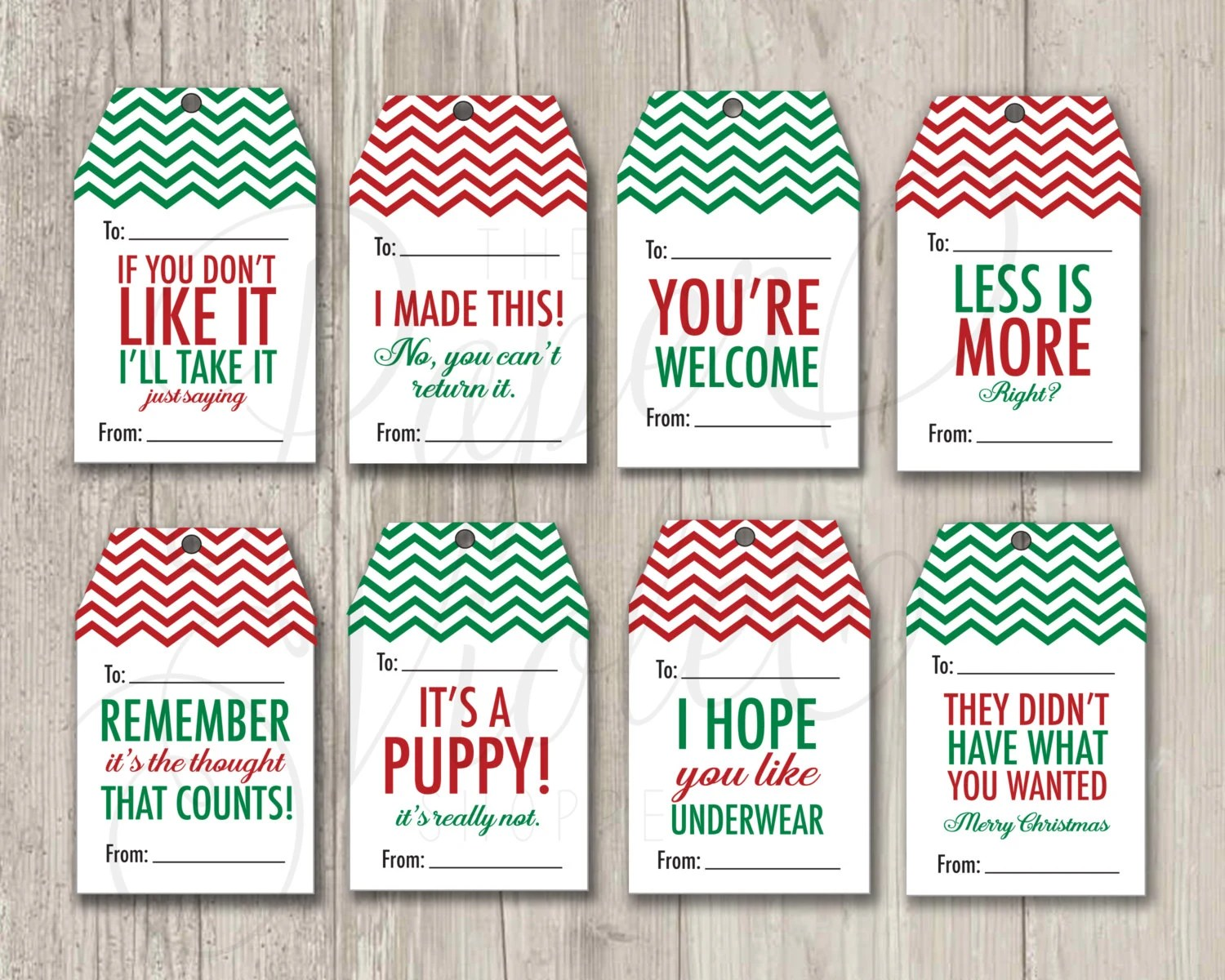 Funny T Tags Christmas Tags Mean T Tags Holiday Tags