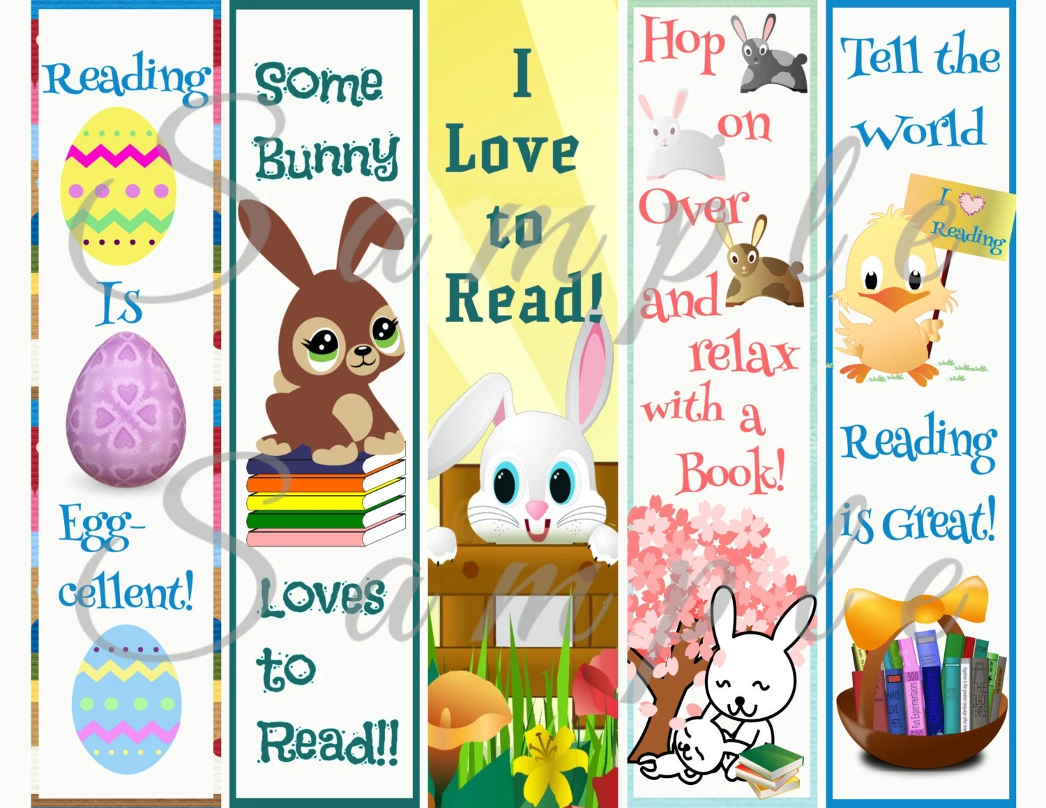 Easter Bunny Reading Bookmark Printable Instant Download
