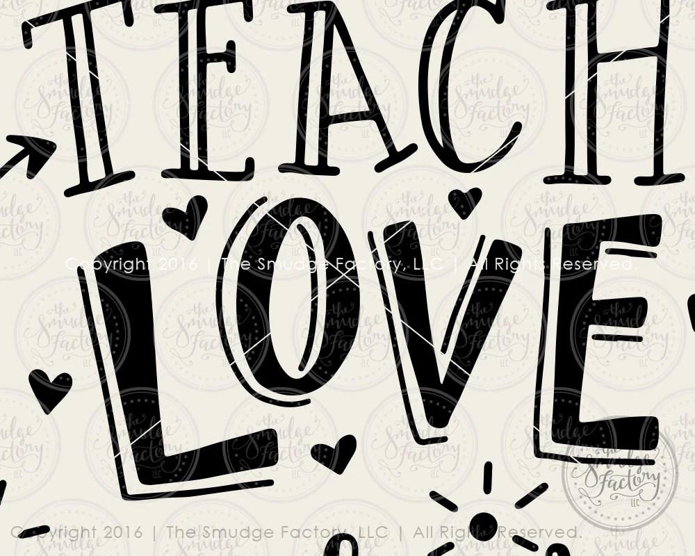 Download Teacher SVG DXF File Teach Love Inspire Hand Lettered SVG