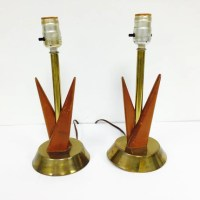 Vintage Danish Style MCM Atomic Age Lamp Pair with Brass