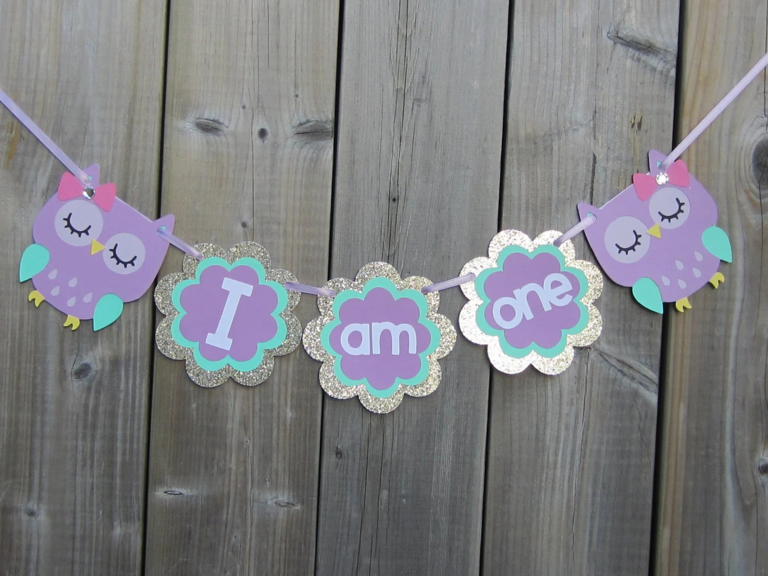 Owl High Chair I Am One Owl High Chair Banner Banner Purple Pink Teal Gold