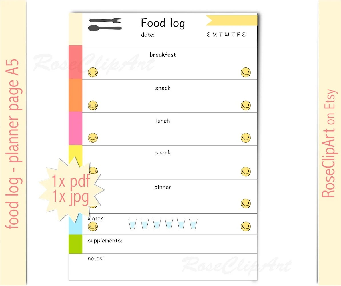 Food Log A5 Instant Download Printable Food Tracker