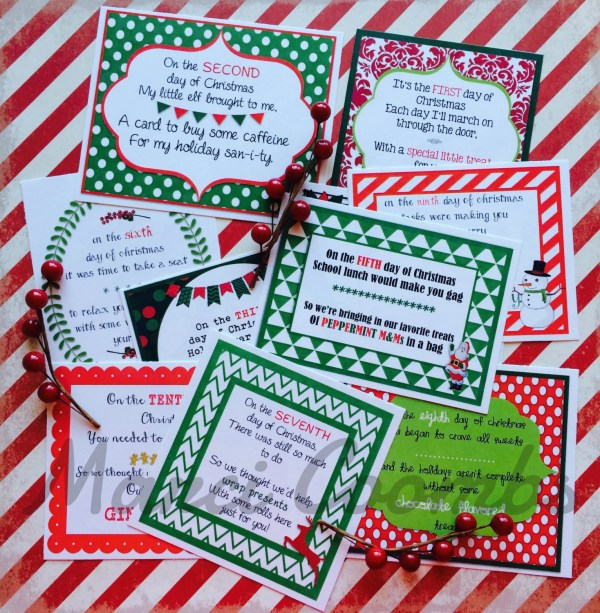 12 Days of Christmas Printable Tags Labels for Teachers