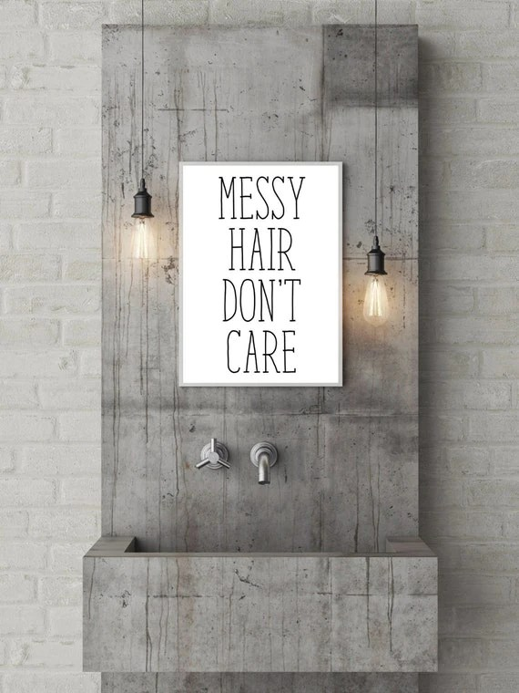 Messy Hair Dont Care Print Black and White by printshopstudio