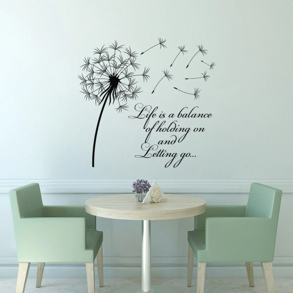 Dandelion Wall Decal Quote Life Balance Holding