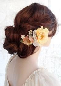 yellow hair accessories wedding light yellow hair flower ...